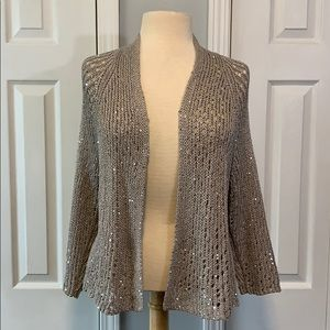 Eileen Fisher beige open knit sequin open cardigan